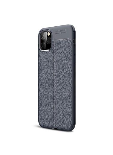 Microsonic Apple iPhone 11 (6.1'') Kılıf Deri Dokulu Silikon Lacivert Lacivert